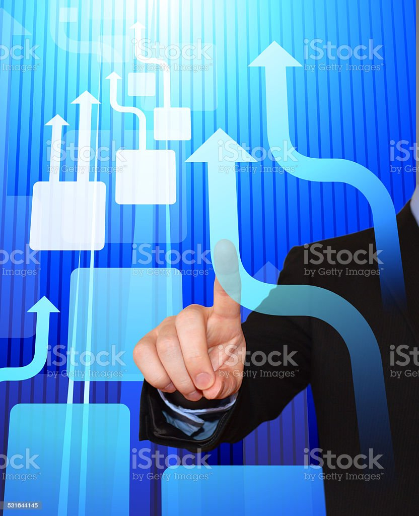 Businessman Pointing at Business Arrows royalty free vector art stock photo