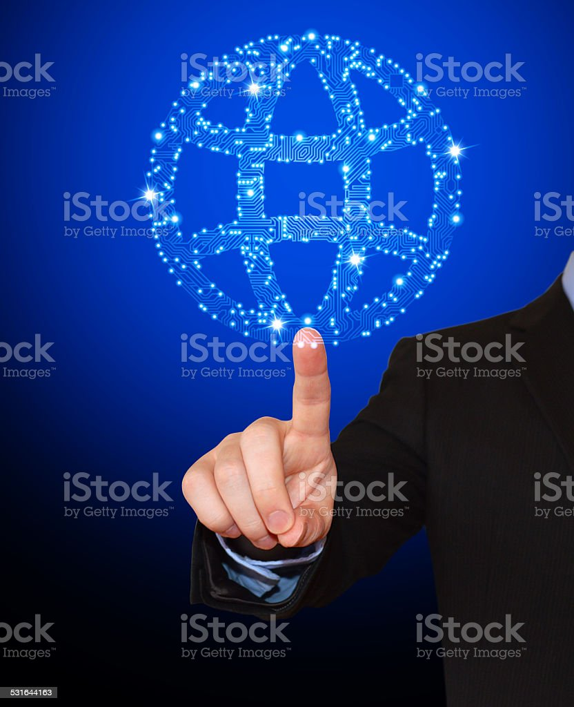 Businessman Pointing at Circuit Board Globe royalty free vector art stock photo