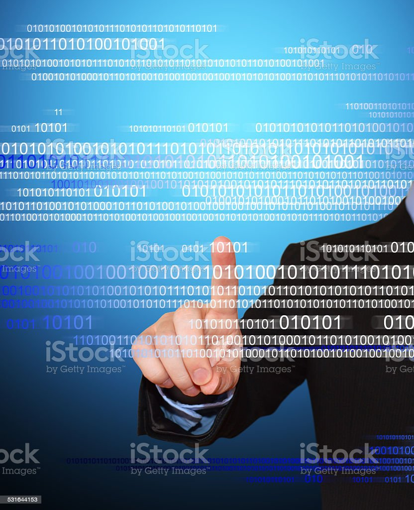 Businessman Pointing at Computer Binary Language stock photo