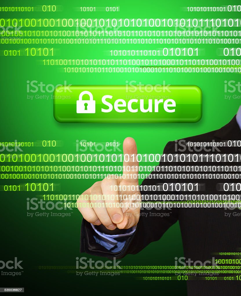 Businessman Pointing at Computer Security royalty free vector arts stock photo