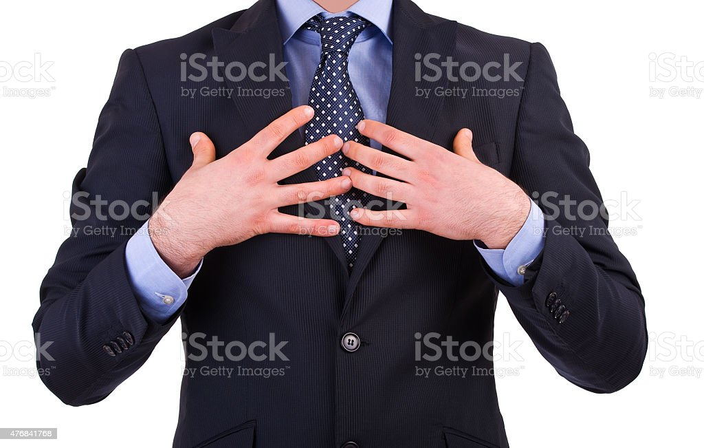 Businessman pointing at himself. stock photo