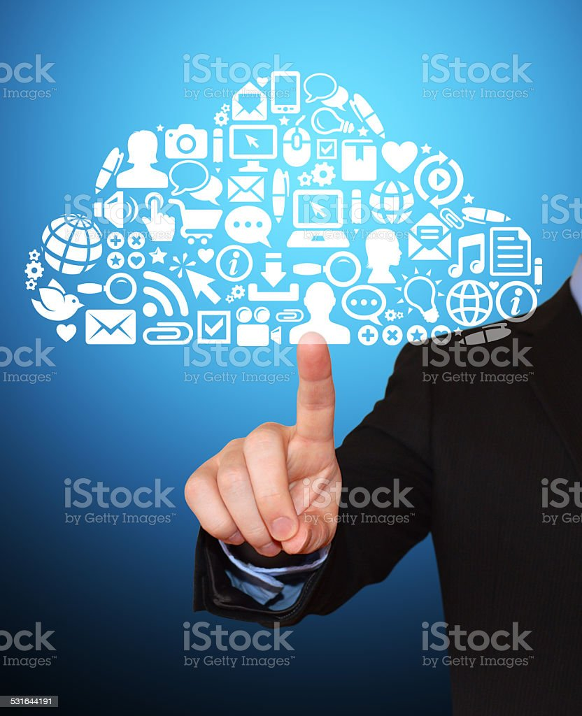 Businessman Pointing at Modern Technology & Communication Cloud stock photo