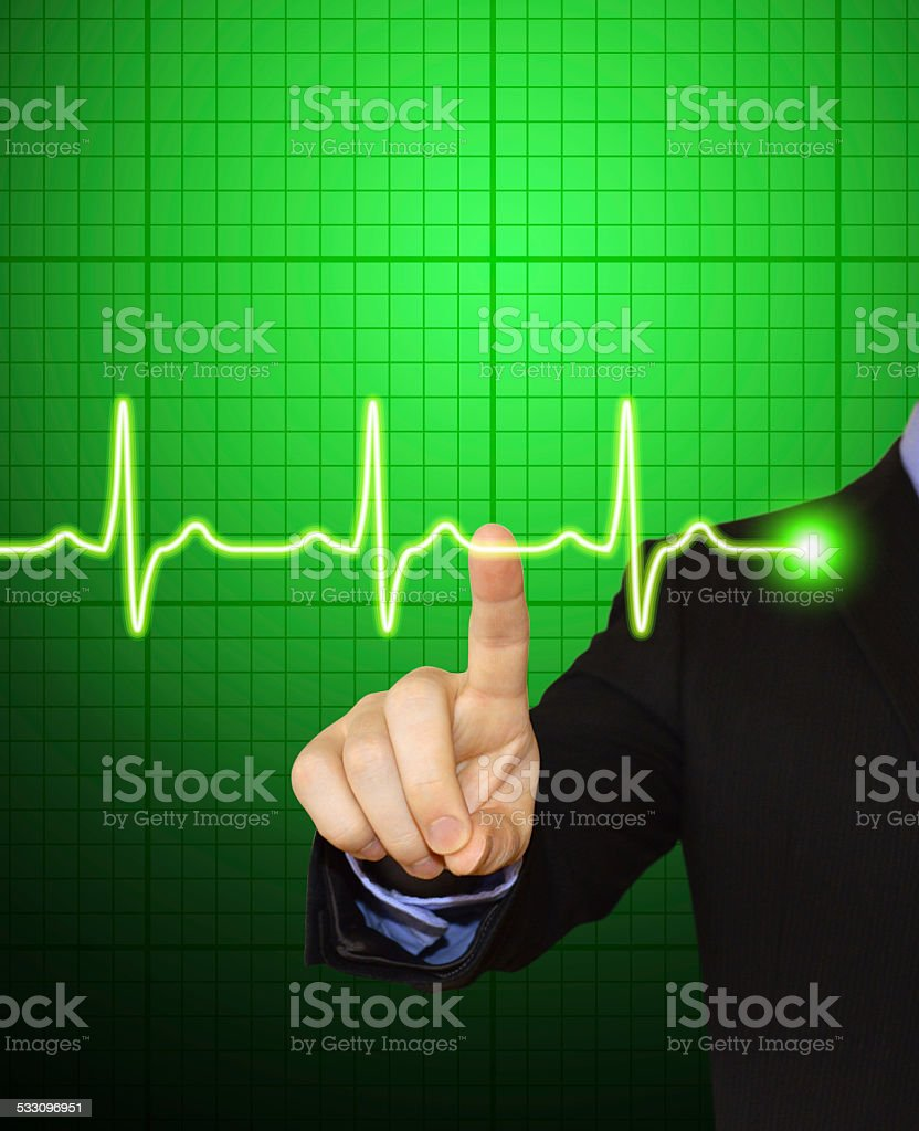 Businessman Pointing at Pulse stock photo