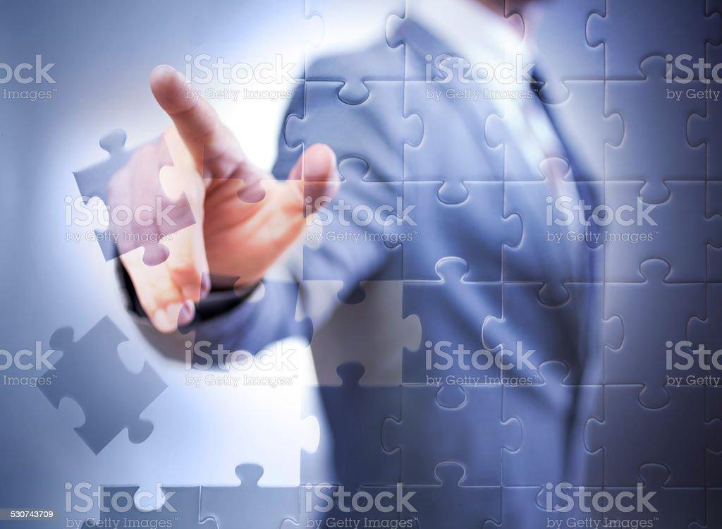 businessman pointing at virtual display stock photo