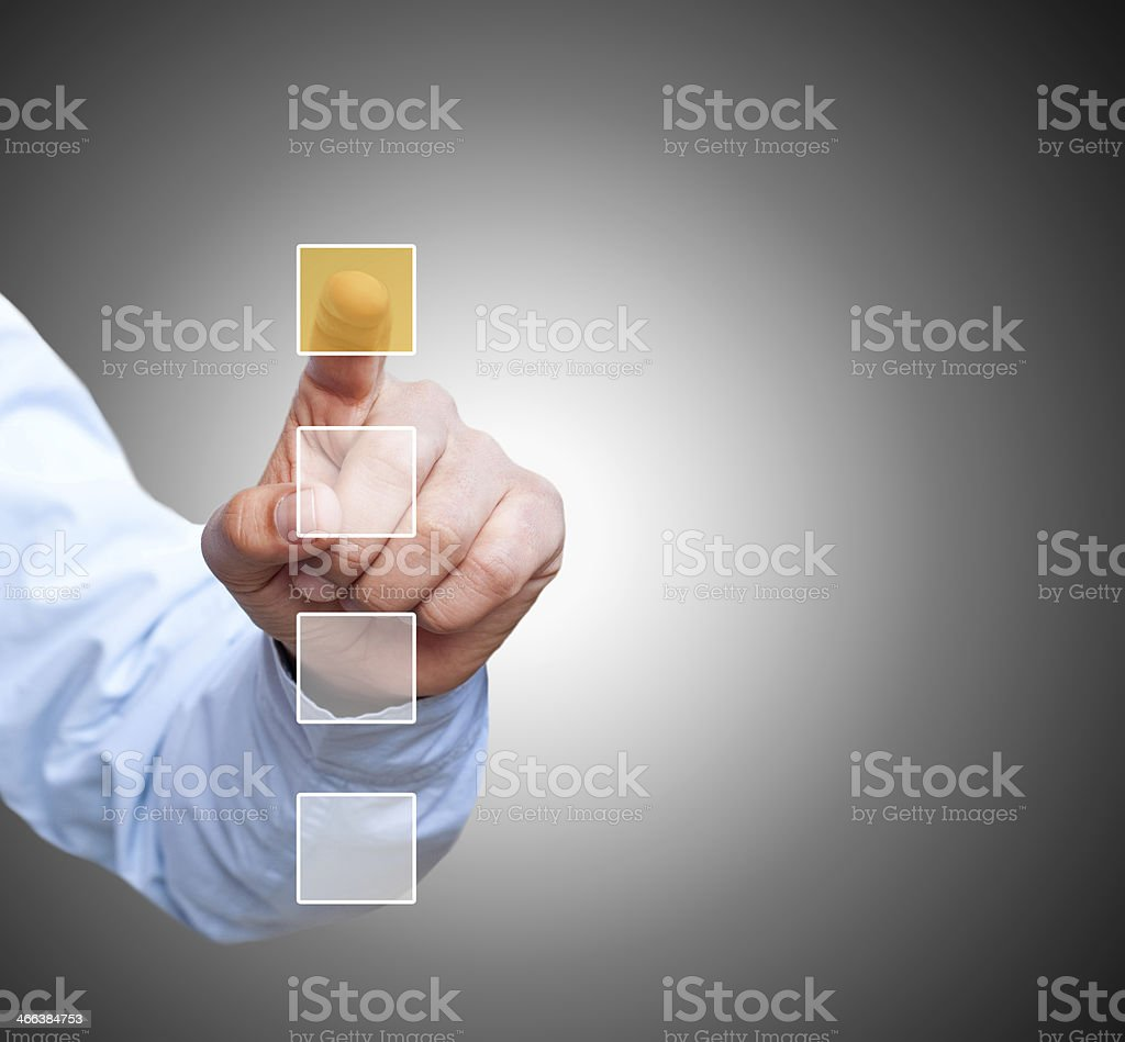Businessman pointing on checkbox stock photo
