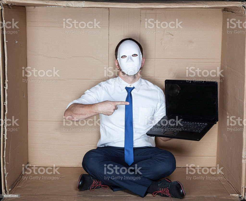 businessman pointing on computer stock photo