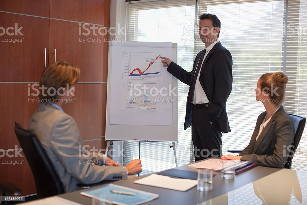Businessman pointing to flipchart in conference room royalty-free stock photo