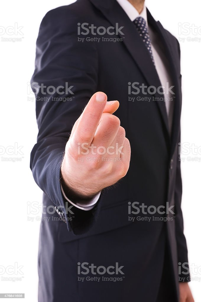 Businessman pointing with finger. stock photo