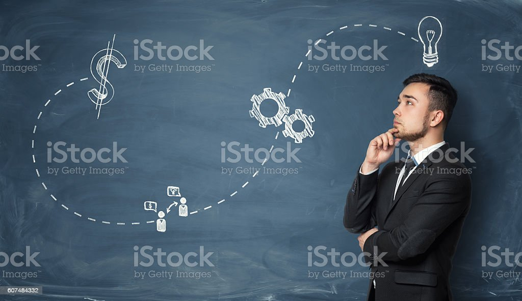 Businessman pondering on business strategy stock photo