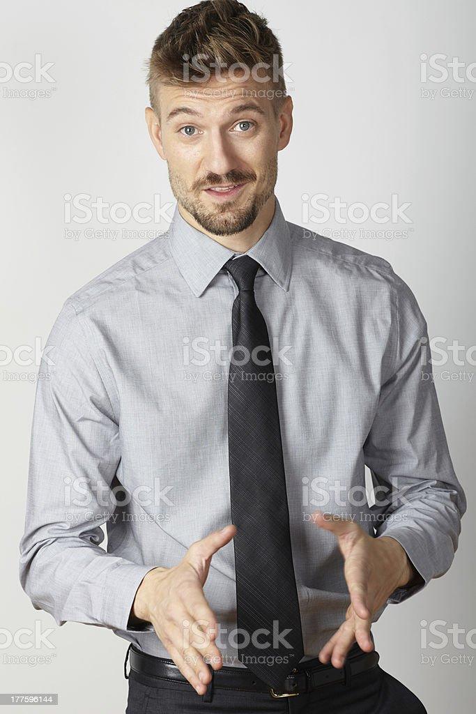 Businessman portrait hand gesturing royalty-free stock photo