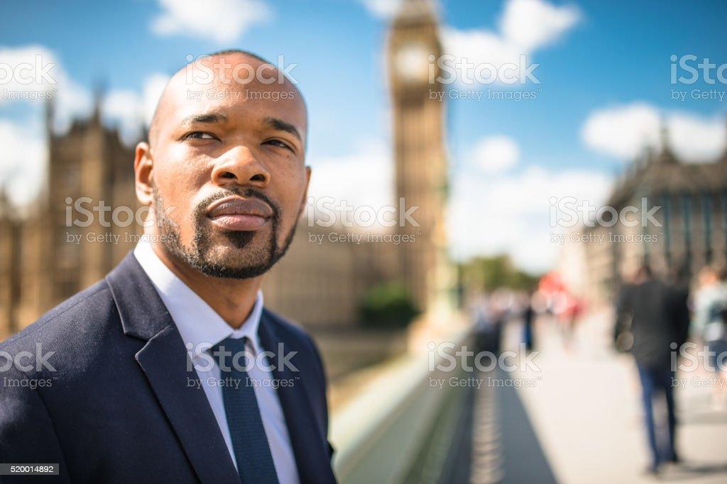 Businessman portrait in London stock photo