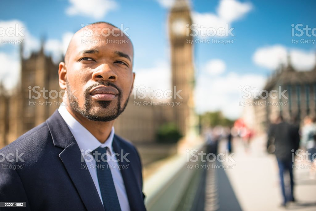 Businessman portrait in London stock photo