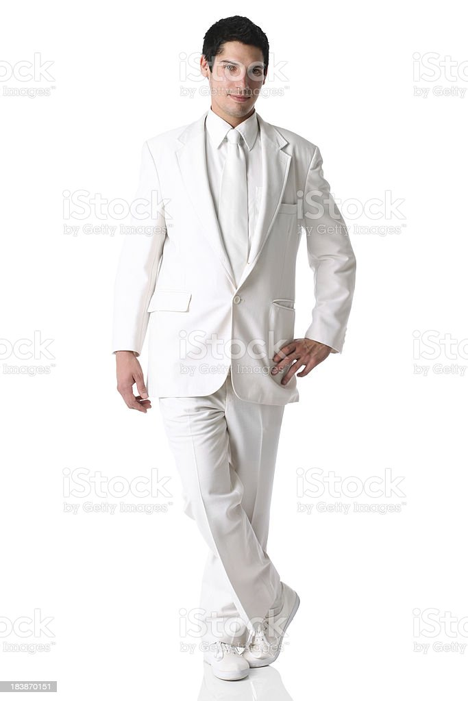 Businessman posing in white suit stock photo