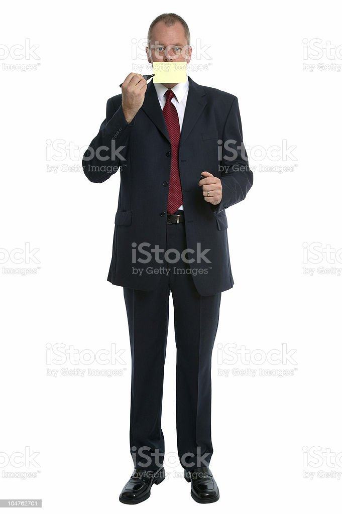 Businessman Post It mouth royalty-free stock photo