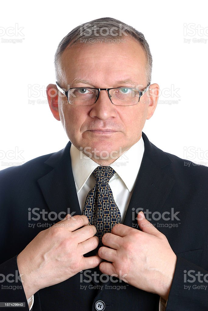 Businessman preparing for work stock photo
