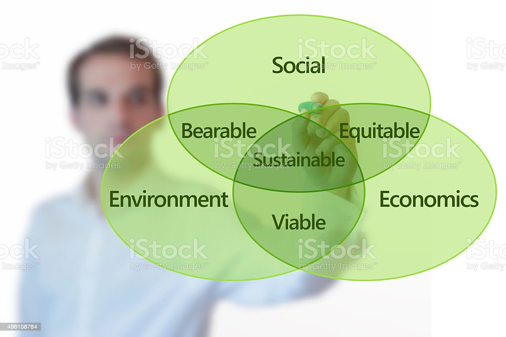 Businessman presenting a chart about sustainable development stock photo
