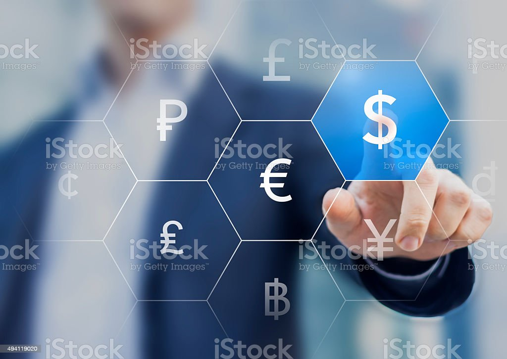 Businessman presenting currencies on virtual screen with dollar stock photo
