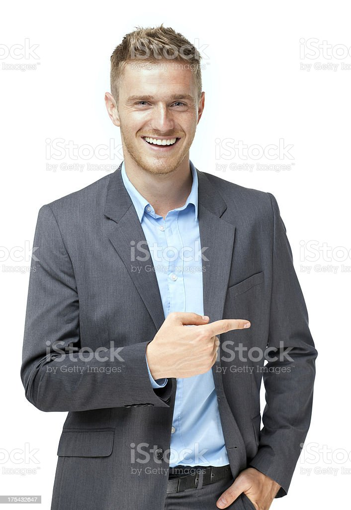 businessman presenting over white background stock photo