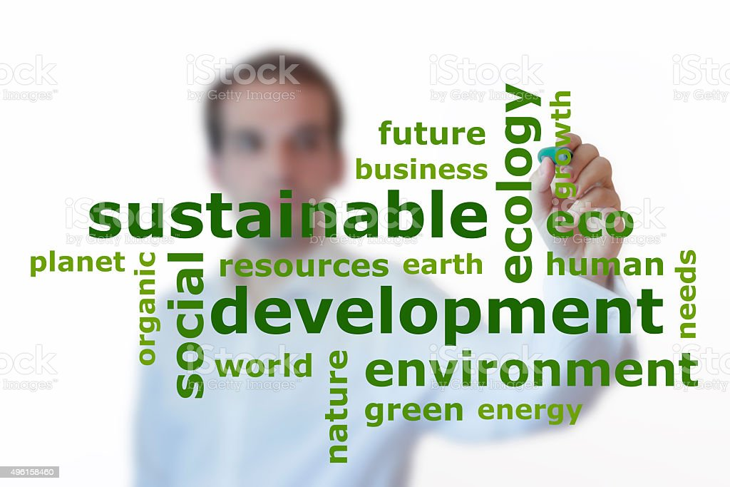 Businessman presenting sustainable development word cloud stock photo