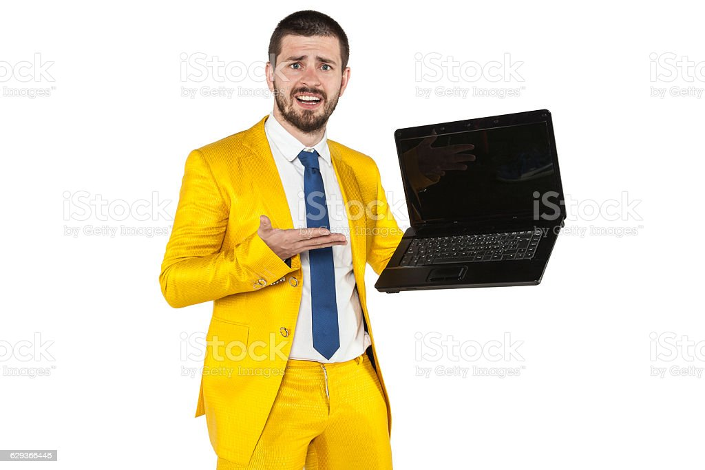 businessman presents equipment to the company stock photo