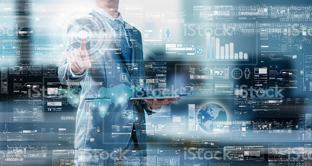 Businessman press on digital screen, digital layer effect, busin stock photo