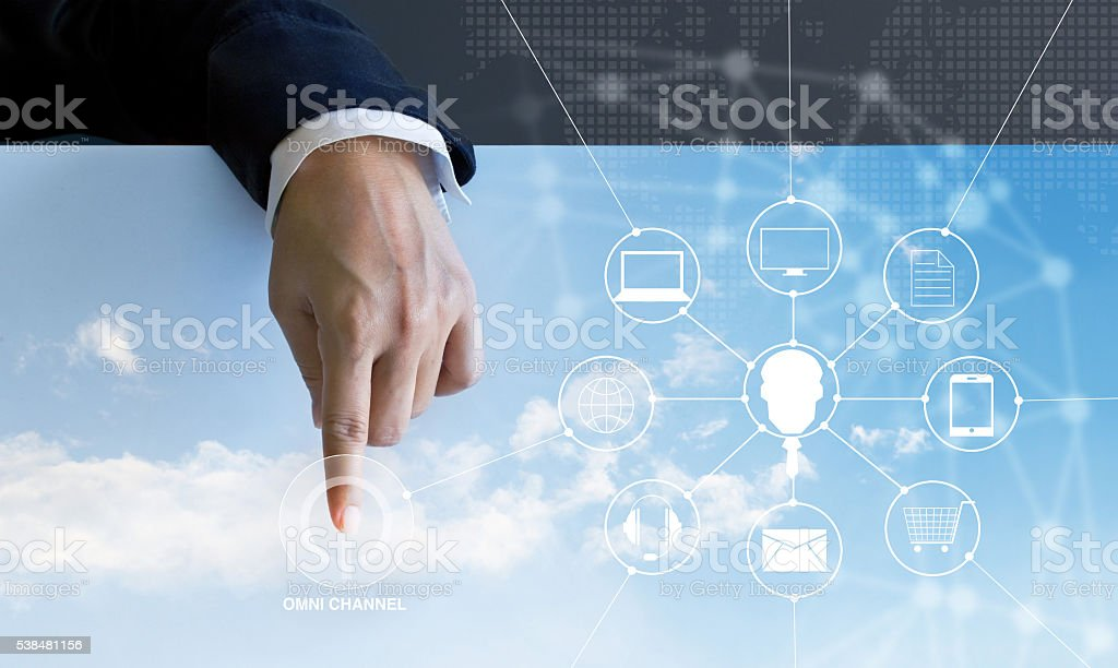 Businessman press the button power omni channel and icon custom stock photo