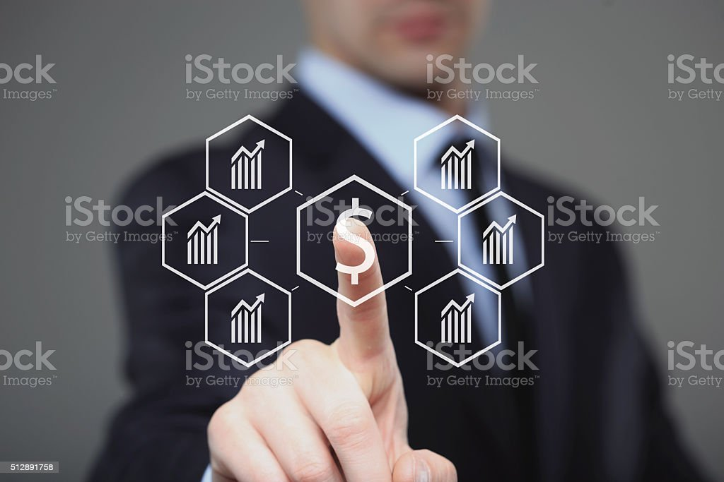 Businessman presses digital interface dollar sign stock photo