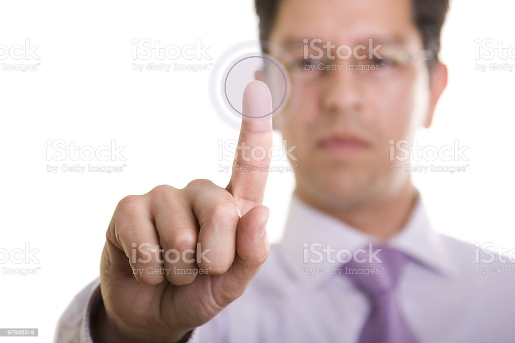 Businessman pressing a button royalty-free stock photo