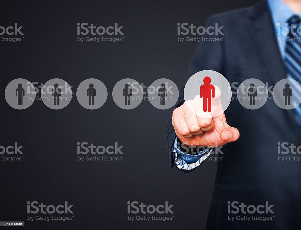 Businessman pressing button on virtual screens. networking and recruitment concept stock photo