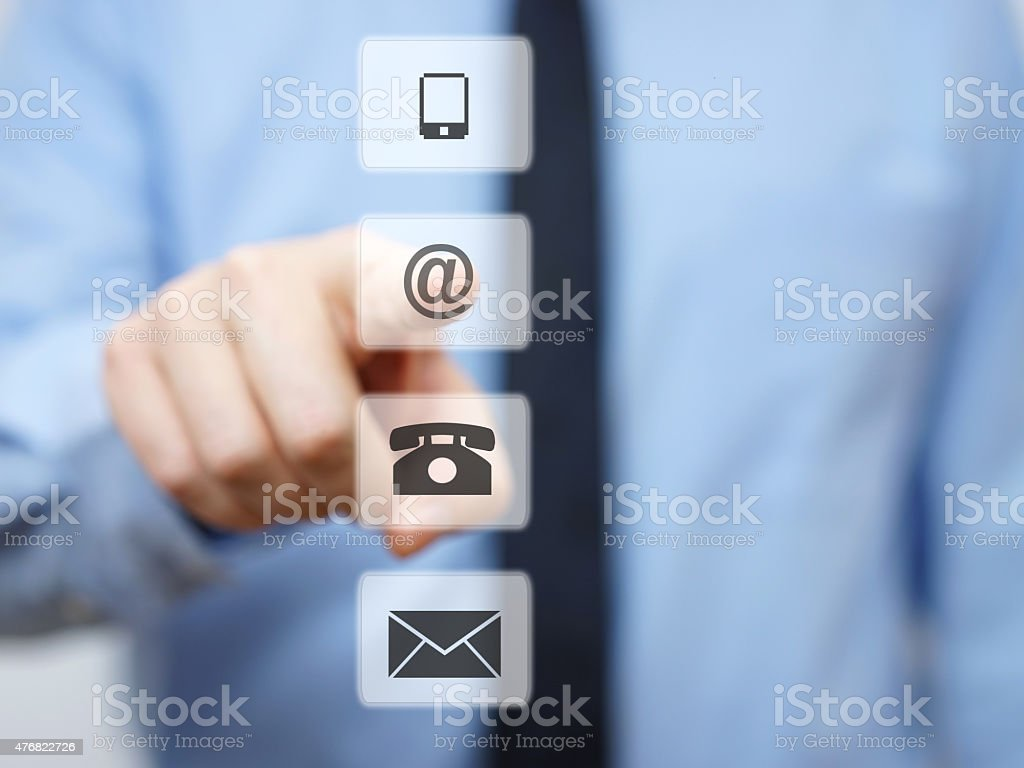 businessman pressing email button, company support icons stock photo