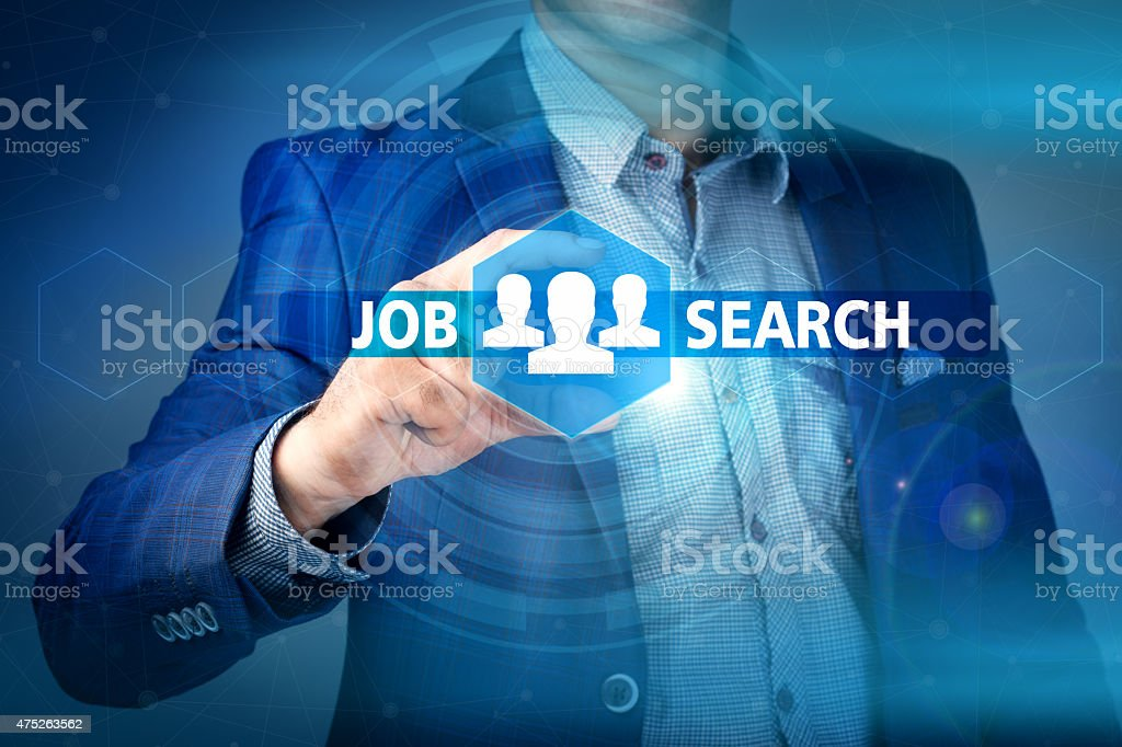 businessman pressing job search button on virtual screens stock photo