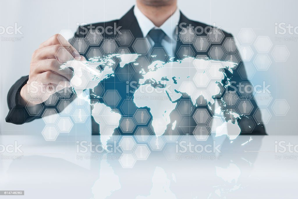 Businessman pressing modern buttons stock photo