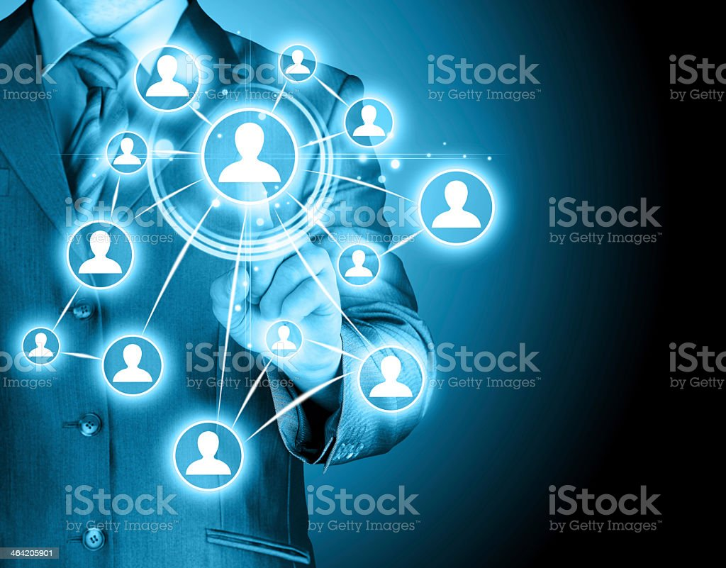 Businessman pressing modern social buttons stock photo
