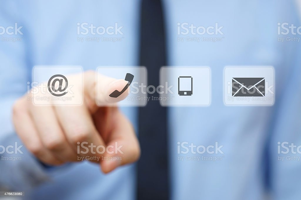 businessman pressing phone button, company identification icons stock photo