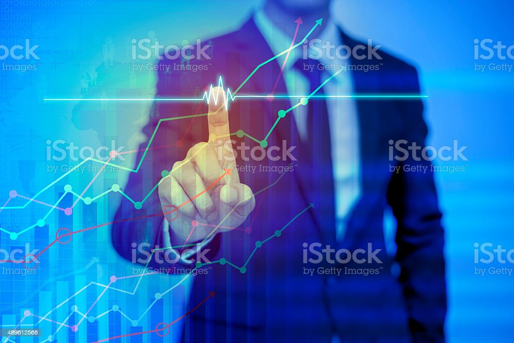businessman pressing support button on virtual screen stock photo