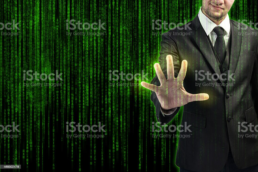 Businessman pressing the screen stock photo