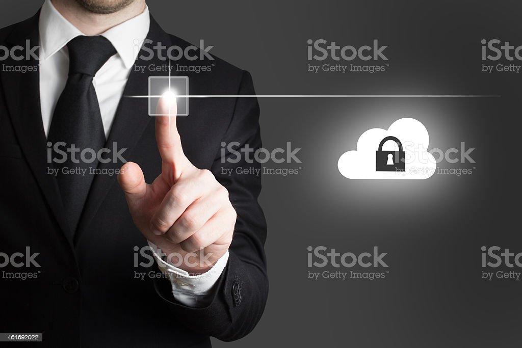 businessman pressing touchscreen button cloud security stock photo