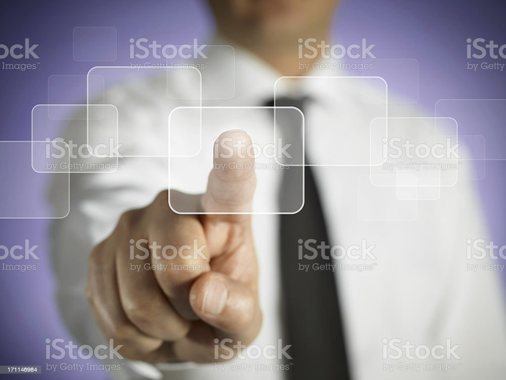 Businessman Pressing Touchscreen Button royalty-free stock photo