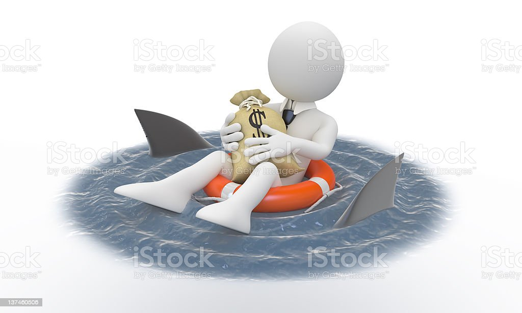 Businessman protecting his money from sharks royalty-free stock photo