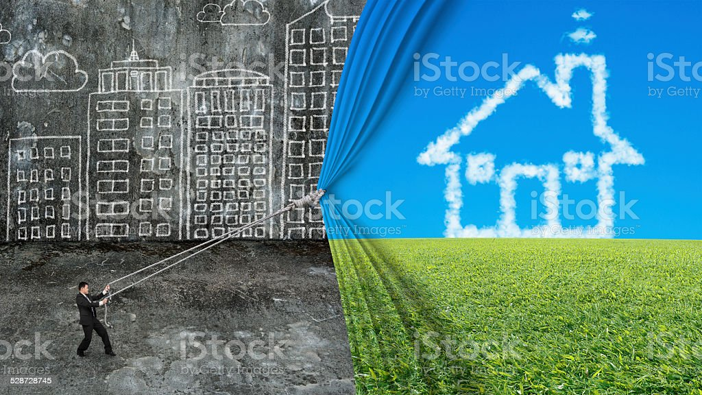 businessman pull house shape cloud curtain covered dirty citysca stock photo