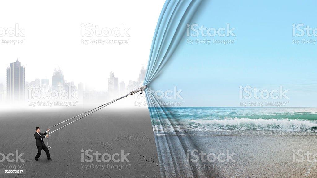 businessman pull open natural sky sea covering gray cityscape stock photo