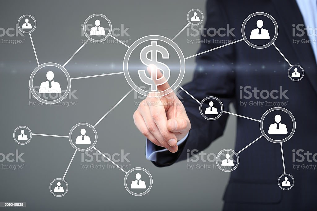 Businessman pushing button with icon dollar virtual. technology, internet and stock photo