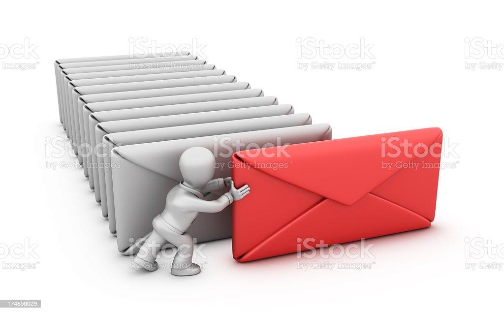 Businessman Pushing Envelope royalty-free stock photo