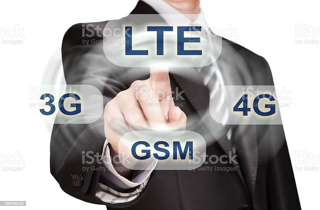 businessman pushing finger on lte button stock photo