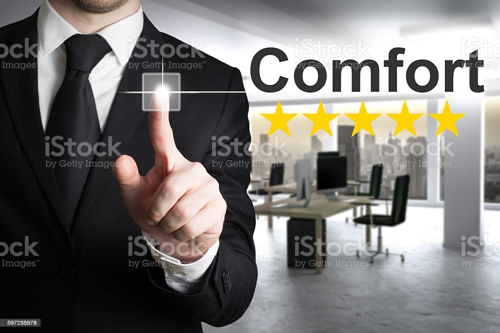 businessman pushing small button comfort five rating stars stock photo