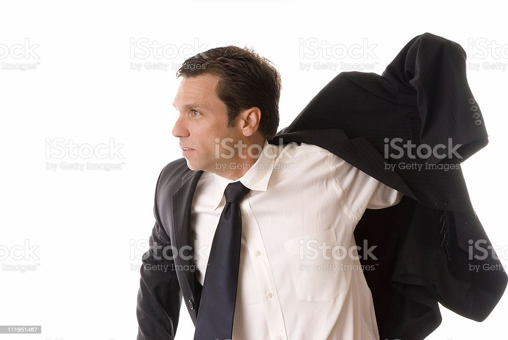 Businessman Putting Coat Isolated on White Background royalty-free stock photo