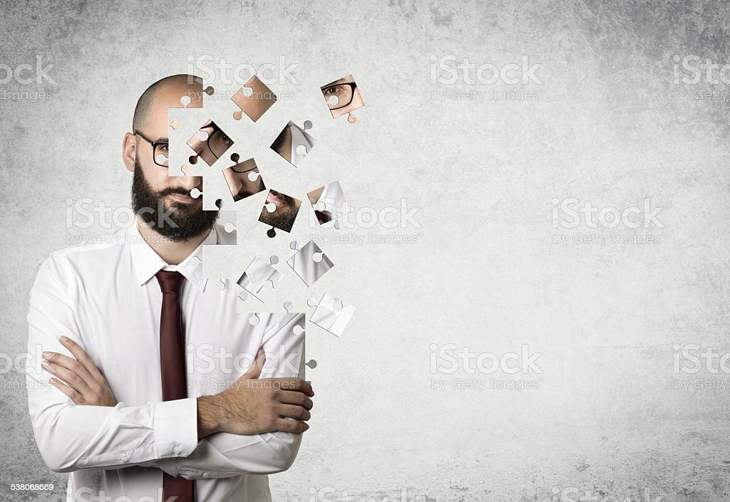 businessman puzzle - starting and partners concept stock photo