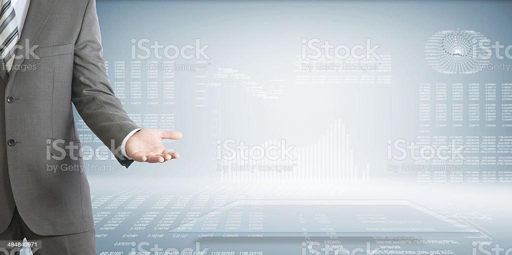 Businessman raised his open palm stock photo