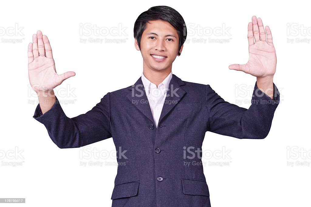 Businessman raises up hand royalty-free stock photo