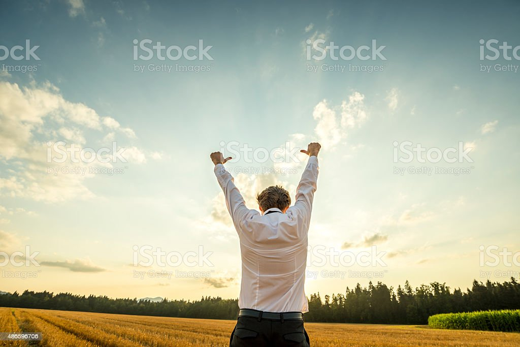 Businessman Raising Arms for Success at the Field stock photo